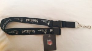 New England Patriots Blackout Lanyard With Safety Latch