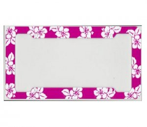 Tropical Flower Dark Pink Plastic License Plate Frame