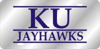Kansas Jayhawks Silver Bar Laser License Plate