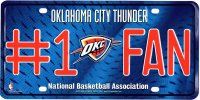 Oklahoma City Thunder #1 Fan License Plate