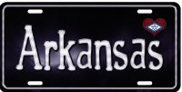 Arkansas Flag Script Metal License Plate