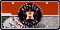 Houston Astros Metal License Plate