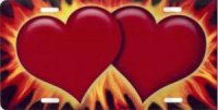 Burning Hearts Red Airbrush License Plate