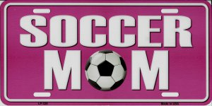 Soccer Mom Pink Metal License Plate