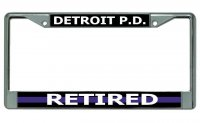 Detroit P.D. Thin Blue Line Retired Chrome License Plate Frame