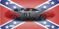 CONFEDERATE FLAG CHARGER REBEL METAL PHOTO NOVELTY LICENSE PLATE