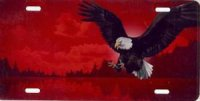 Eagle Offset on Red Airbrush License Plate