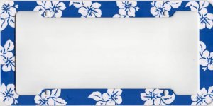 Tropical Flower Blue Plastic License Frame