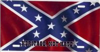 "Rebel Flag ""Heritage, Not Hate"" Airbrush License Plate"