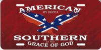 American By Birth Confederate Rebel Eagle License Plate