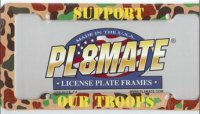 "Heavy Duty Plastic ""I Support The Troops"" License Frame"