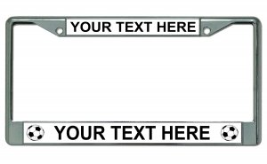 Your Text Here Soccer Balls Chrome License Plate Frame