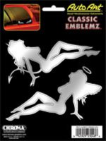 Devil/Angel Sitting Ladies - Chrome/Black Embossed Decal