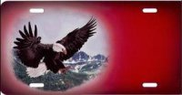 Eagle on Red Offset Airbrush License Plate