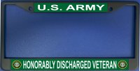 Army Honorably Discharged Veteran Chrome License Plate Frame