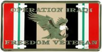 Operation Iraqi Freedom License Plate