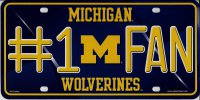Michigan Wolverines #1 Fan Metal License Plate