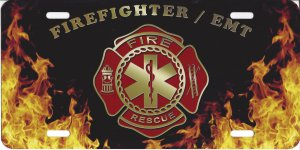 Firefighter EMT Logo With Flames License Plate