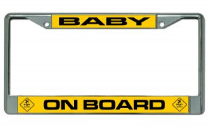 Baby On Board Chrome License Plate Frame
