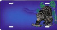 Black Bear and Cub Airbrush License Plate