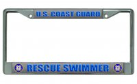 U.S. Coast Guard Rescue Swimmer Chrome License Plate Frame