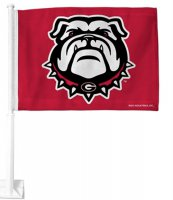 Georgia Bulldog Red Car Flag