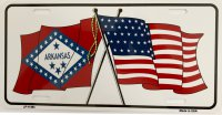 Arkansas Crossed U.S. Flag Metal License Plate