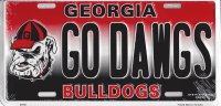 Georgia Bulldogs Go Dawgs Metal License Plate
