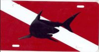 Mako Shark on Dive Flag License Plate