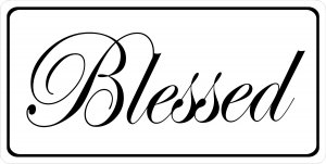 Blessed On White Photo License Plate