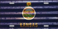 Kansas Corrugated Flag Metal License Plate