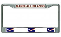 Marshall Islands Chrome License Plate Frame