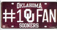 Oklahoma Sooners #1 Fan License Plate