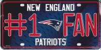 New England Patriots #1 Fan Metal License Plate