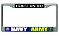 Navy Army House United Chrome License Plate Frame