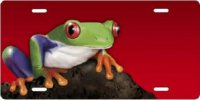 Frog on Red Airbrush License Plate