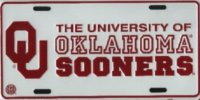 Oklahoma Sooners (White) Metal License Plate