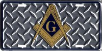 Masonic Diamond Plate Metal License Plate