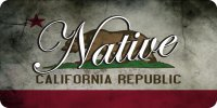 Native On California Republic Flag Photo License Plate