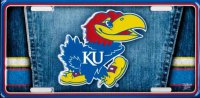 Kansas Jayhawks Denim Metal License Plate