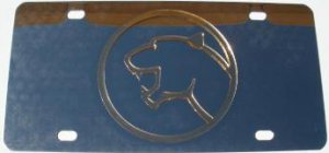 Cougar Gold Logo Stainless Steel License Plate