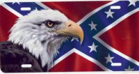 Rebel Flag with Eagle Airbrush License Plate