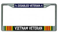 Disabled Vietnam Veteran Chrome License Plate Frame