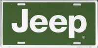 Jeep White Logo on Green License Plate