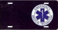 EMT on Black Offset License Plate
