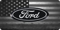 Ford Logo On American Flag Photo License Plate