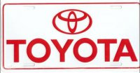 Toyota on White License Plate
