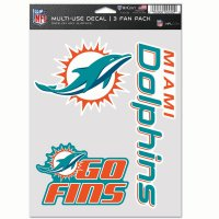 Miami Dolphins 3 Fan Pack Decals