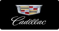 Cadillac Emblem With Script On Black Photo License Plate