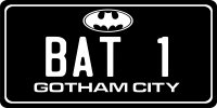 Bat 1 Gotham City Photo License Plate
